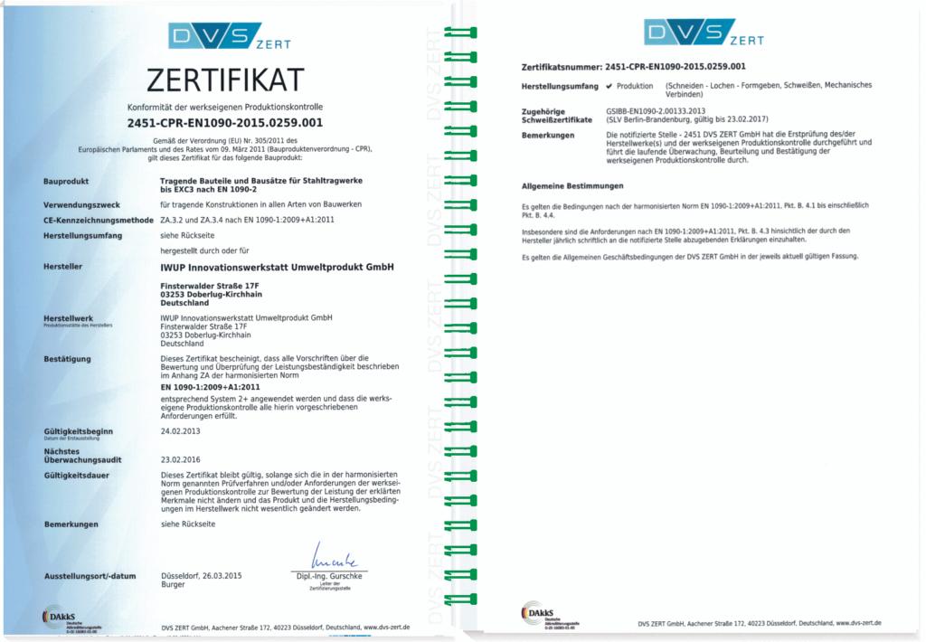 ZERTIFIKAT 2451-CPR-EN1090-2015 0259 001